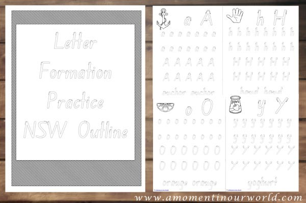 Letter Formation Practice NSW Outline