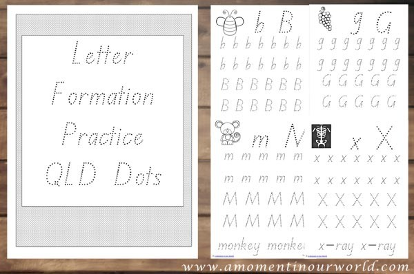 Letter Formation Practice QLD Dots