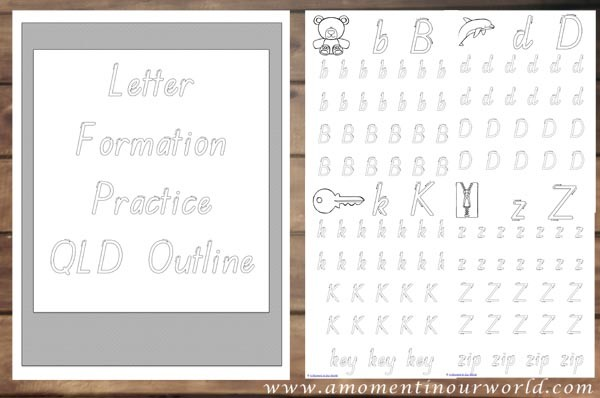 Letter Formation Practice QLD Outline