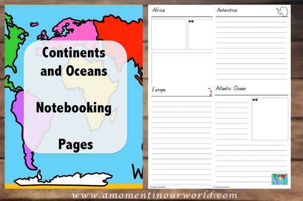 Continent and Ocean Notebooking Pages