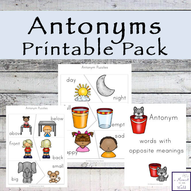 Learning antonyms can be tricky. This Antonym Printable Pack will help kids learn some words that mean the opposite of each other.