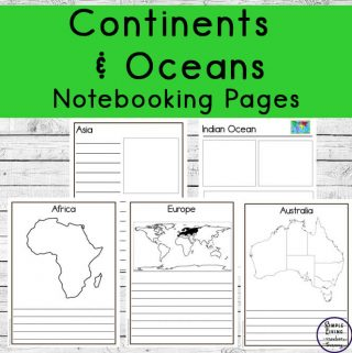 These free Printable Continent and Ocean Notebooking Pages are a great way to learn about the continents and oceans of the world.