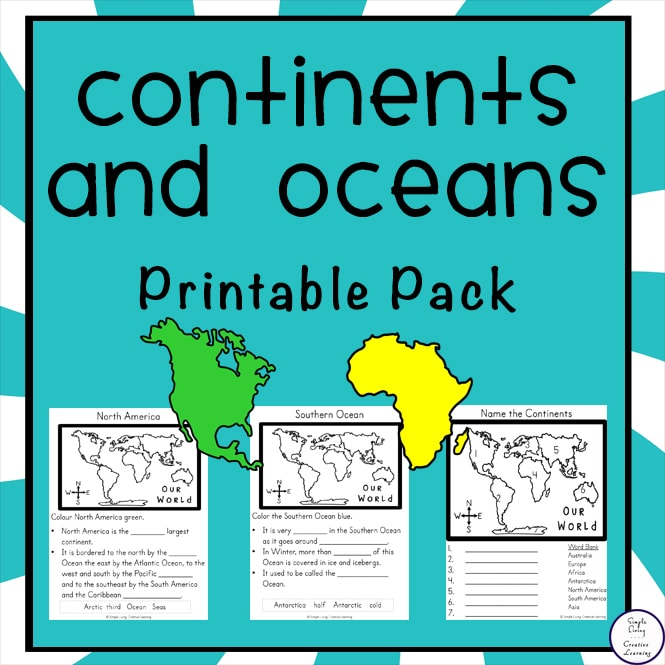 This free Continents and Oceans printable pack is a fun way to learn about the seven continents and five oceans that make up the world we live in.
