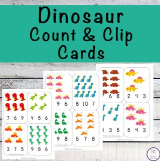 Dinosaur Count and Clip Cards