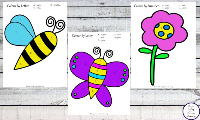 These Spring Colour By...  pages are not only fun, but great for number and letter recognition practice and for fine tuning fine motor skills.