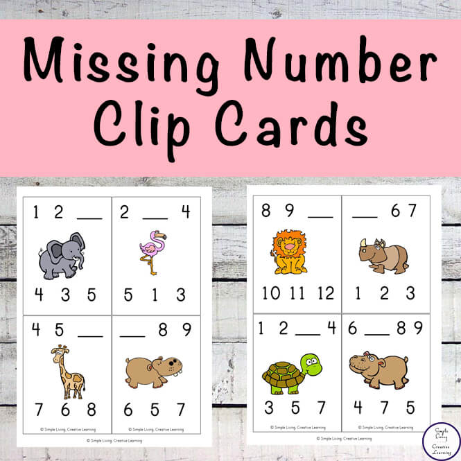 ThMissing Number Clip Cards