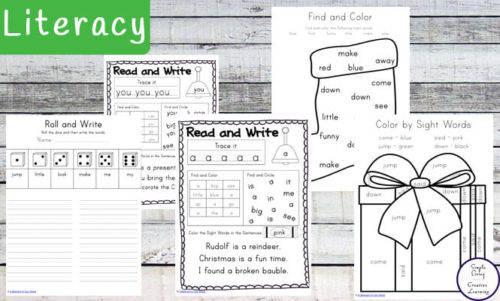 Christmas Themed Math and Literacy Pre-Primer Pack