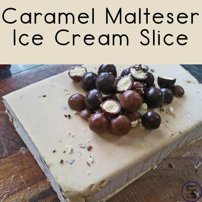Caramel Malteser Ice Cream Slice