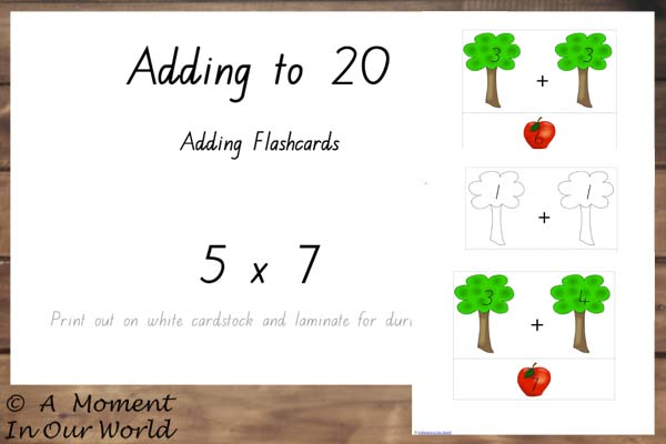 {FREE} Printable Adding to 20 5x7 Flashcards