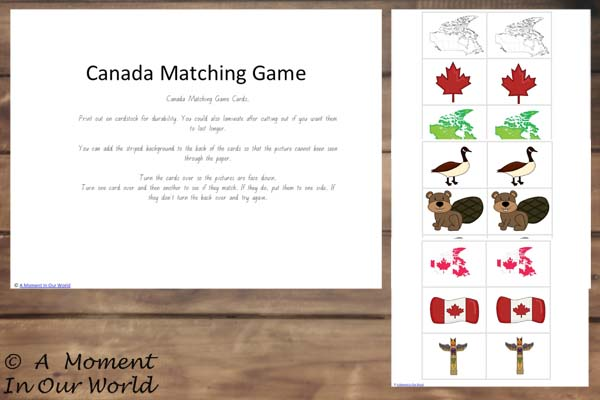 {FREE} Printable Canada Matching Cards