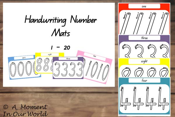 Handwriting Number Mats