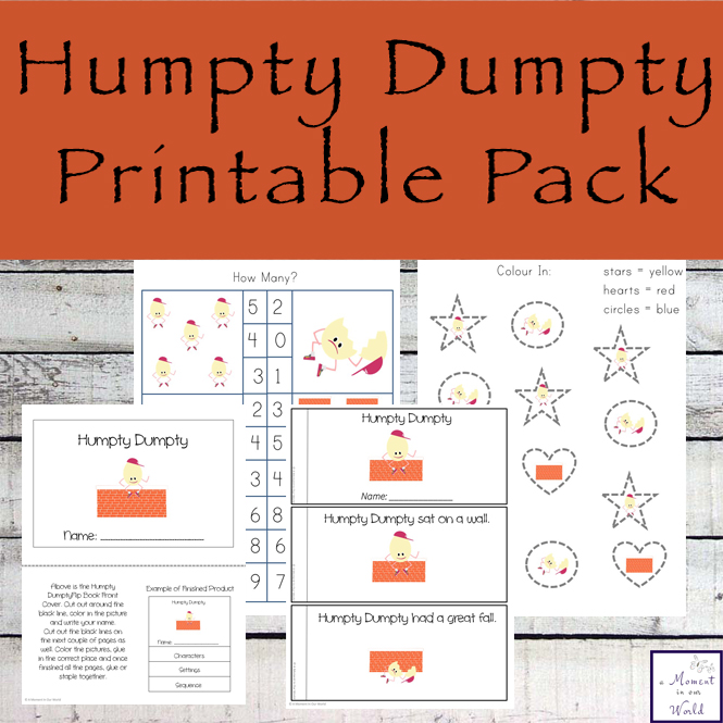 Humpty Dumpty is a favourite nursery rhyme with children. This mini printable pack contains over 70 pages of fun and educational learning activities for kids in preschool and kindergarten.
