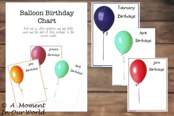{FREE} Printable Balloon Birthday Charts