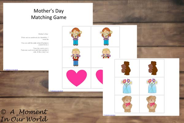 Mothers Day Matching Cards