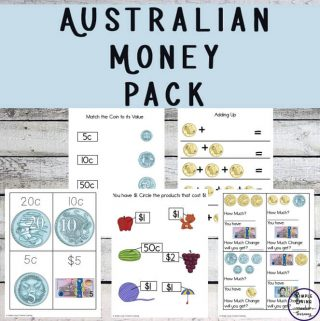 This money printable pack is a great way to introduce young children to the coins and notes used in Australia. It also contains activities for older children, where they will learn how to count the money and work out change.