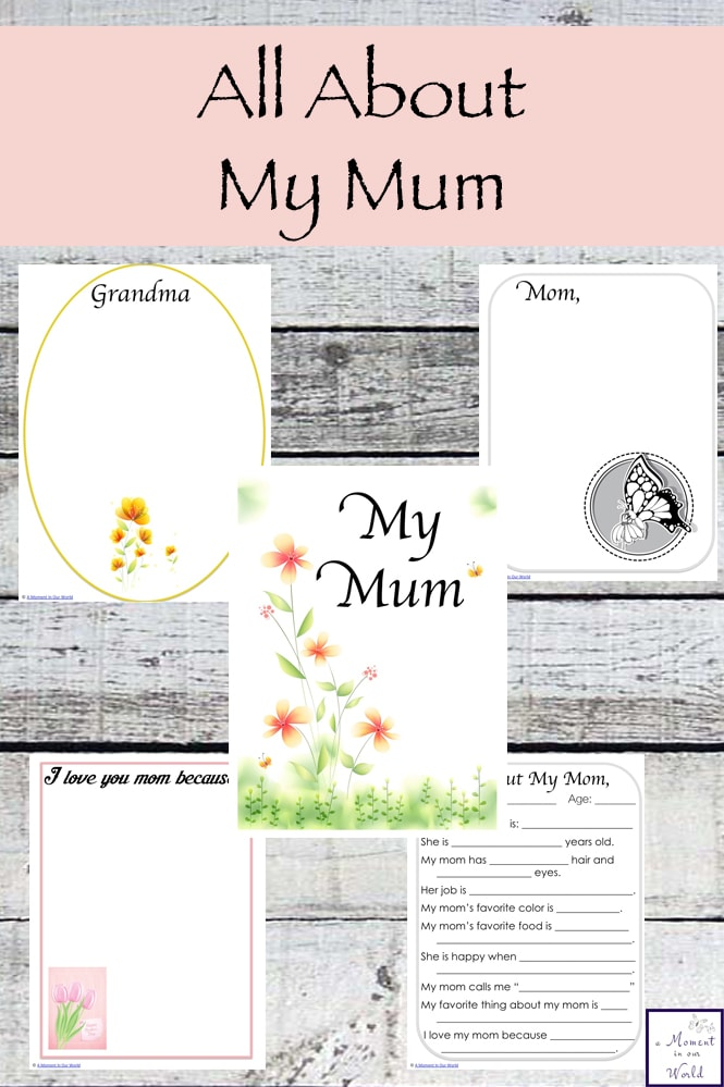 graphic about All About My Grandma Printable named All Above My Mum Printables - Basic Dwelling. Artistic Understanding