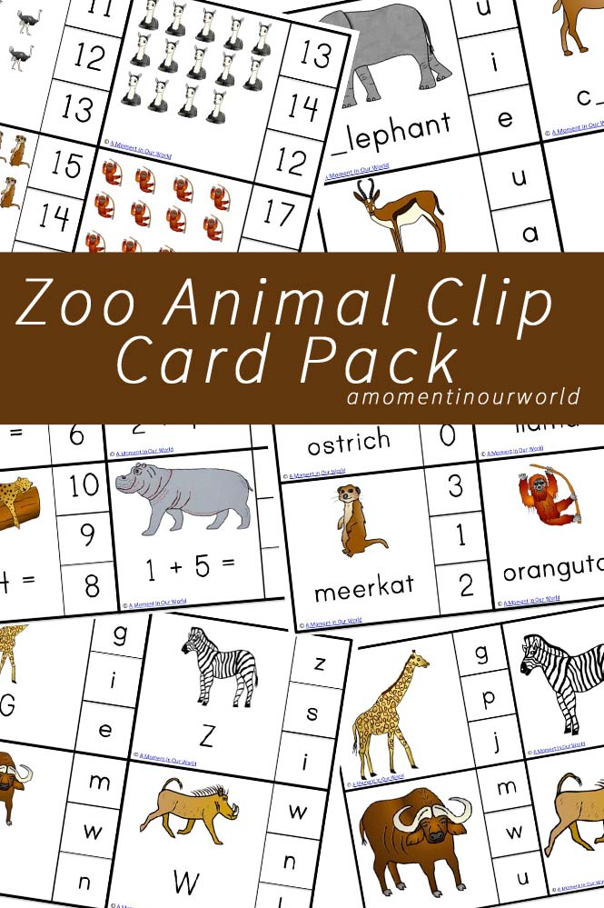 Zoo Animal Clip Card Pack