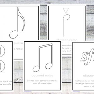 These music symbols cards and colouring pages will help you learning about all the different signs and symbols that are used in music.