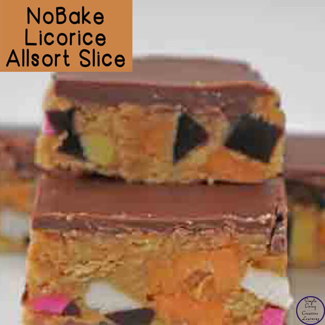 This No-Bake Licorice Allsorts Sliceis full of colour and delicious when topped chocolate.