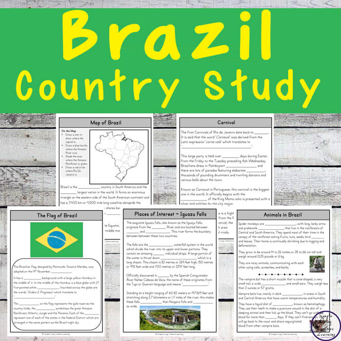 This Brazil Country Study is a great way for kids to learn more aboutthis country and the amazing Amazon River and Rainforest.