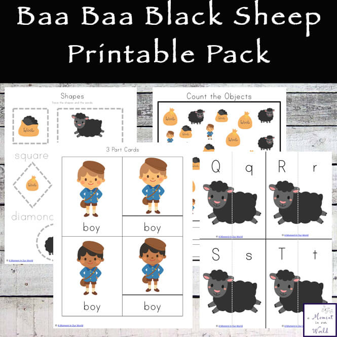This fun Baa Baa Black Sheep Printable Pack aimed at children ages 2 - 7.