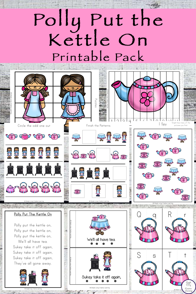 Polly put the Kettle on is a fun nursery rhyme for kids to learn. This printable pack goes great alongside this rhyme.