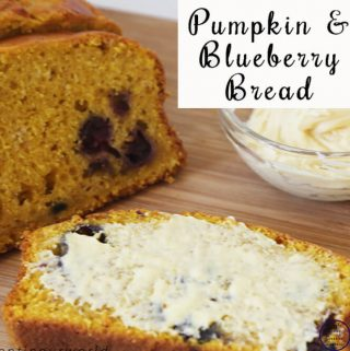 This pumpkin and blueberry bread is moist and delicious, especially smothered in maple syrup butter!