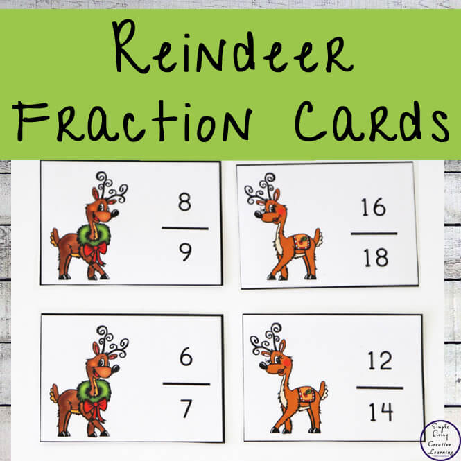 Reindeer Fraction Cards