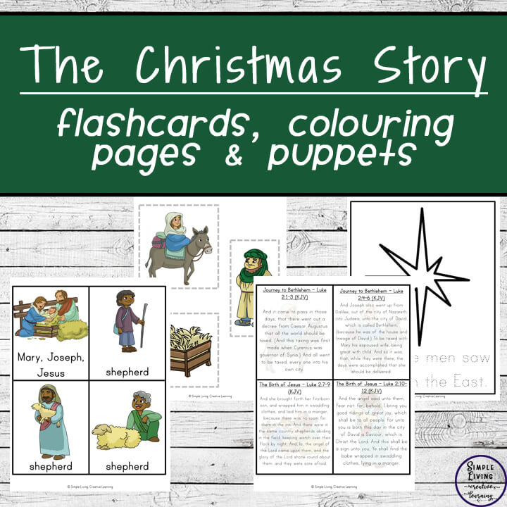 Learn the Christmas Story this year, with these fun flashcards, colouring pages, puppets and Scripture Cards which contain verses from Matthew and Luke.