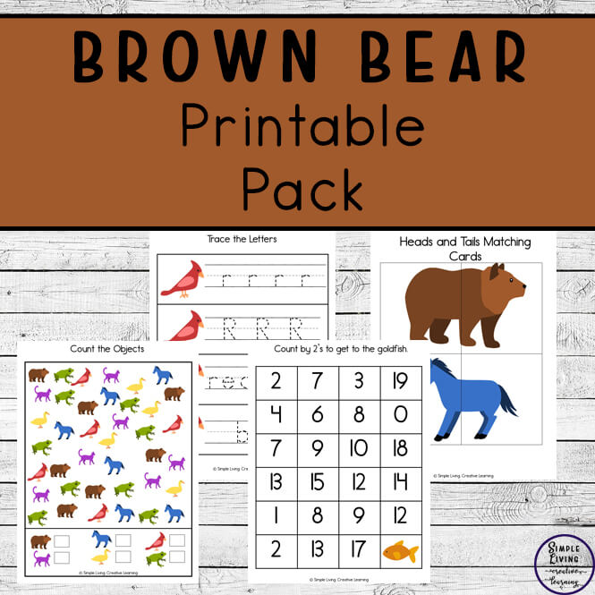 This Brown Bear printable pack is a great way to young children nine different colours: brown, red, blue, green, yellow, white, purple, black and gold.