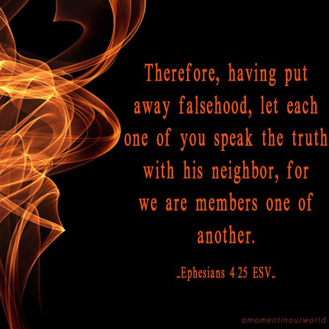 Monday Memory Verse Printable Pack: Ephesians 4:25.