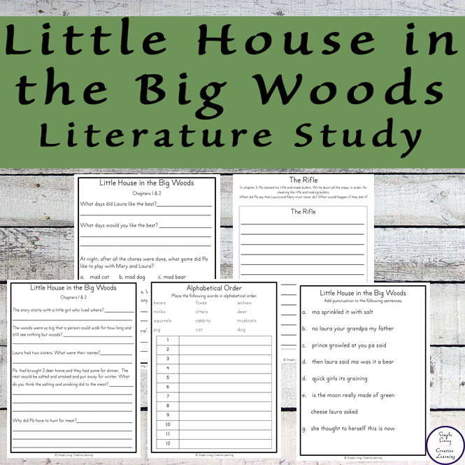 This Little House in the Big Woods Literature Study goes well with the book by Laura Ingalls Wilder.