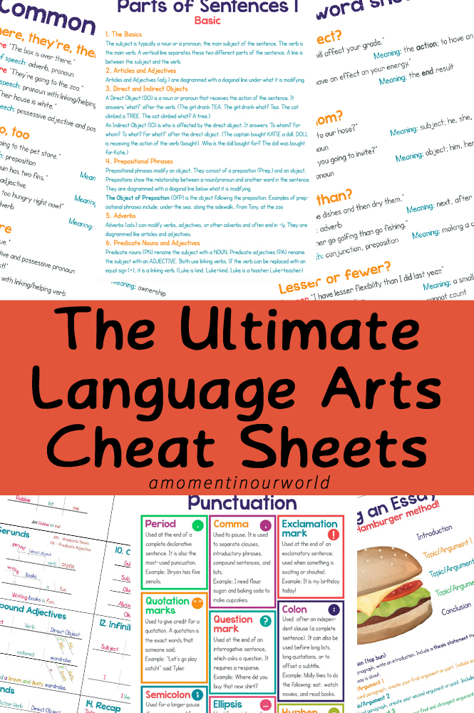 These Ultimate Language Arts Cheat Sheets are a great asset to our homeschool.