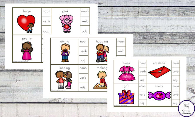 These Valentine Parts of Speech Cards are a great way to introduce children to nouns, verbs and adjectives.