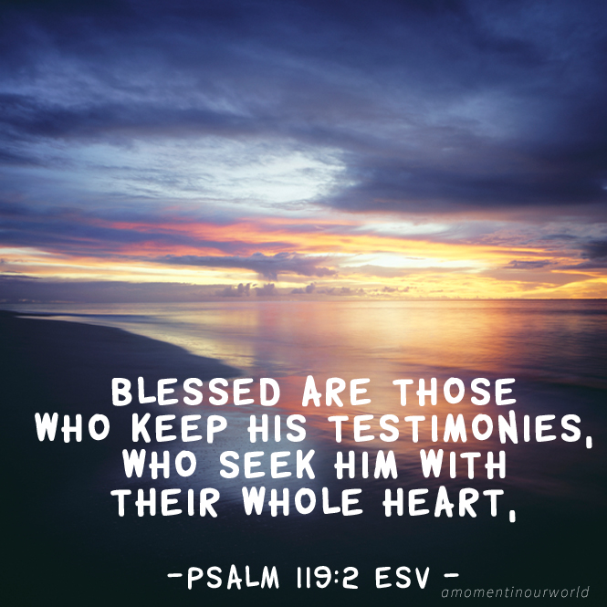 Printable Monday Memory Verse for Kids: Psalm 119:2