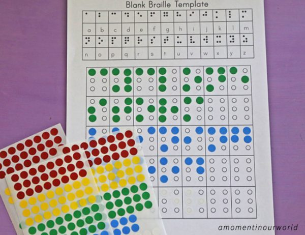 This Braille Learning Pack is a great way to kids to learn about how blind people read with their fingers.