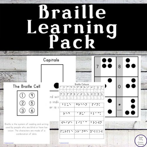 This Braille Learning Pack will help your children learn more about this six raised dot system that was invented in 1821 by a French schoolboy Louis Braille.