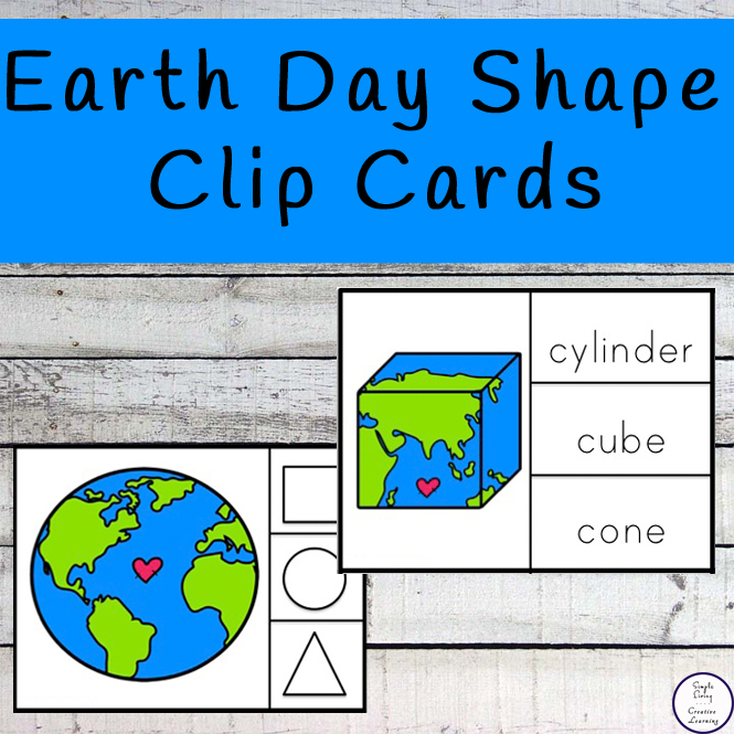 Earth Day Shape clip cards