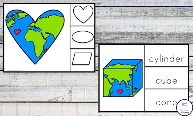 These Earth Day Shape clip cards are a fun way to learn both 2d and 3d shapes. They can be printed out and laminated for repetitive use.
