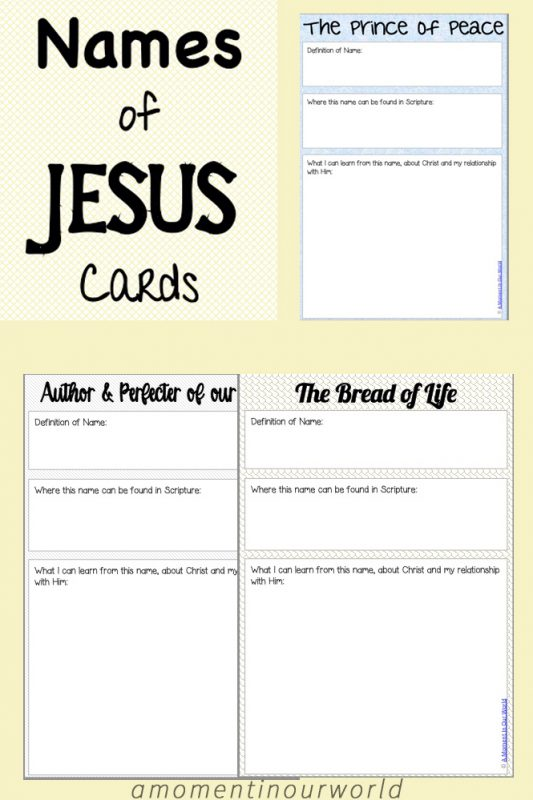 These Names of Jesus Cards are a great way to study and learn about the Names of Jesus.