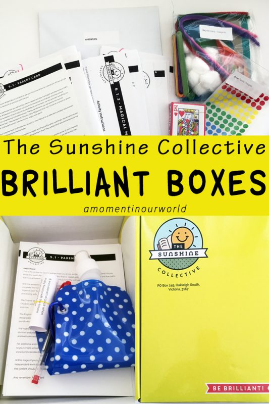 These Brilliant Boxes, created by The Sunshine Collective, are a great additional to your homeschool resources, boredom busters for school holidays or to take with you when travelling.