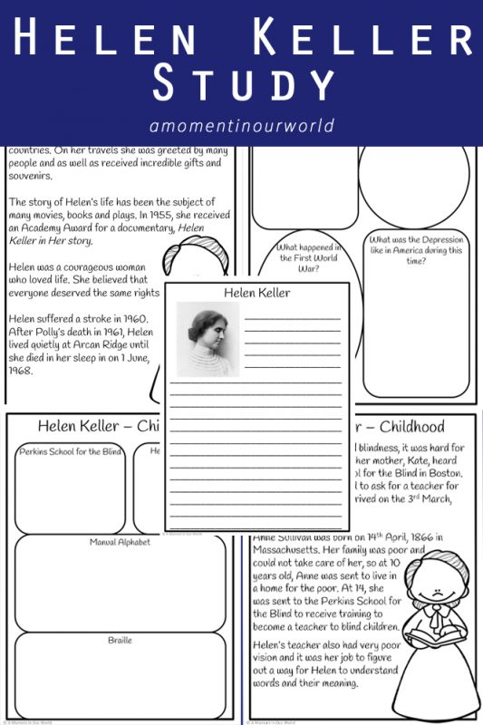 To learn more about this amazing woman and all her achievements , I created this Helen Keller Study, aimed at children in grades 2 - 5.