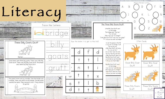 This Three Billy Goats Gruff Printable Pack is aimed at kids ages 2 - 9.