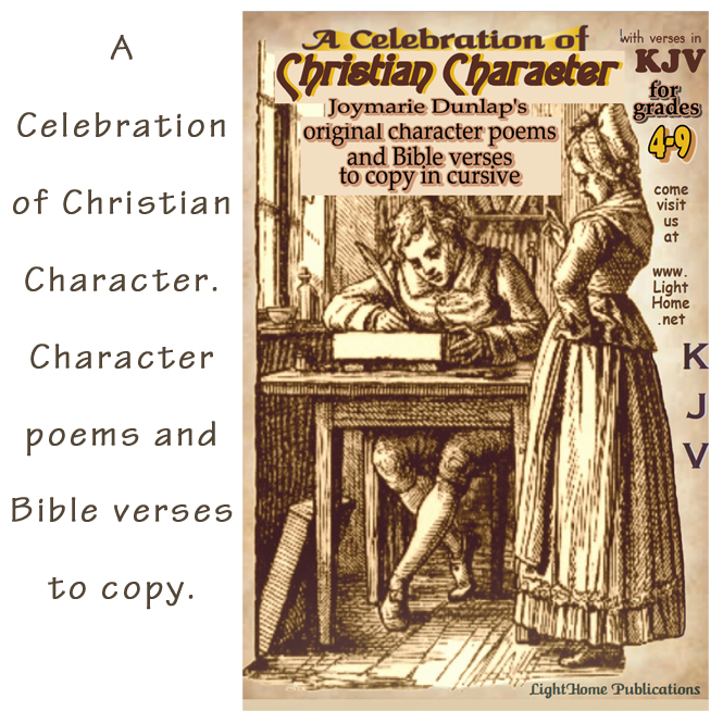 {Review} A Celebration of Christian Character. Includes character poems and Bible verses to copy for grades 4 - 9.