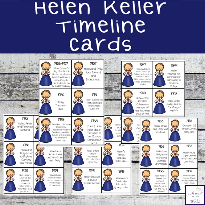 Helen Keller was an amazing woman. These Helen Keller Timeline Cards help tell the life and  achievements of this wonderful woman.