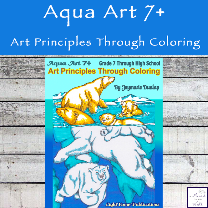 """Aqua Art 7+"" Art Principles Through Coloring is a one-of-a-kind art curriculum that combines many different art concepts through coloring a variety of underwater scenes and water surfaces."