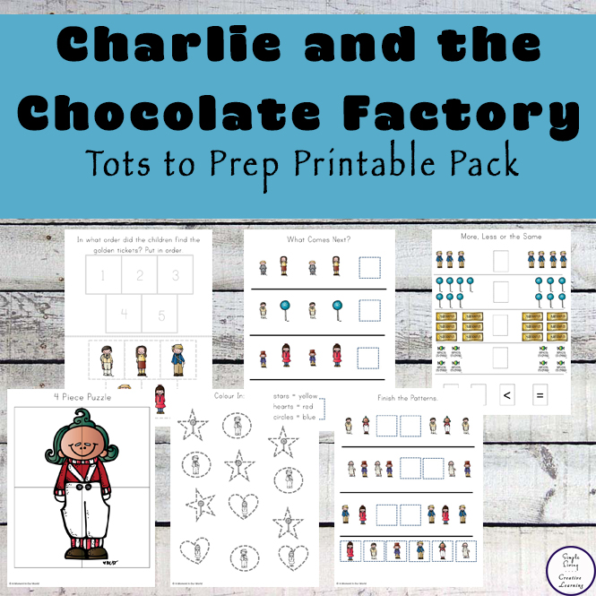 This 150+ page Charlie and the Chocolate Factory contains a variety of literacy and math related activities for kids age 2 - 9.