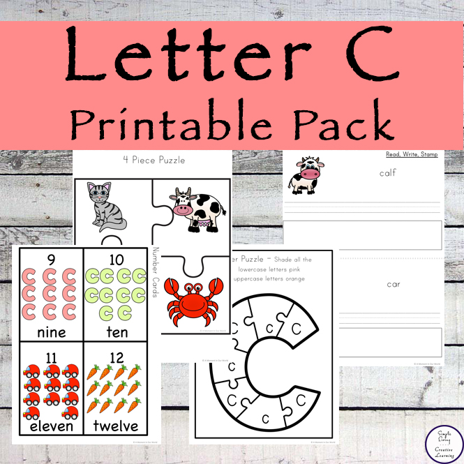 This Letter C Printable Pack is aimed for children aged 3 - 9 and contains a variety of activities; simple math concepts, literacy and hands-on activities.