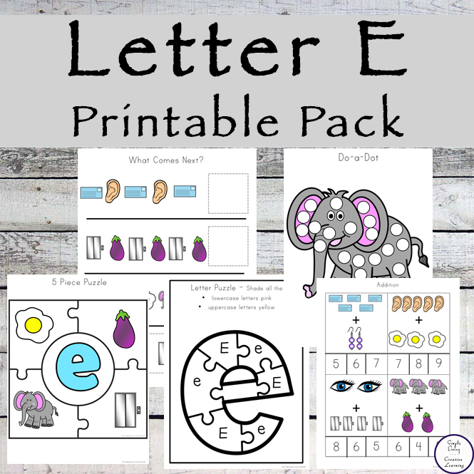 This Letter E Printable Pack is aimed for children aged 3 - 9. It contains a variety of math, literacy and hands-on activities.