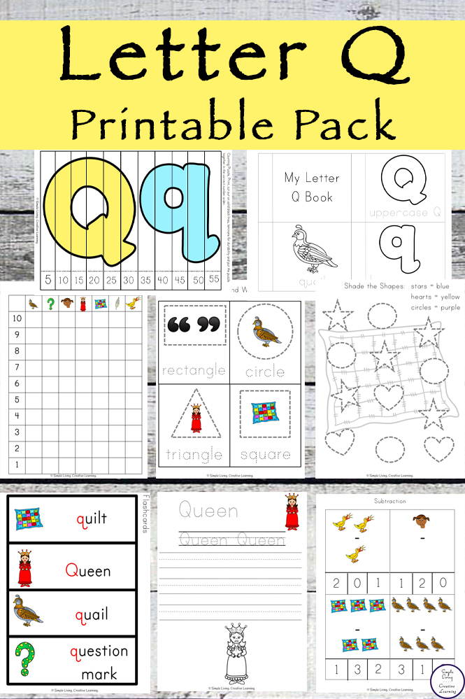 This Letter Q Printable Pack is aimed for children aged 3 - 9 and contains a variety of activities; simple math concepts, literacy and hands-on activities.